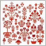 "GOK2092 Thea Gouverneur Kit Sampler - Redwork 13-1/2"" x 13-1/2""; Linen; 36ct"
