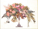 "GOK1085 Thea Gouverneur Kit Roses In A Vase 24"" x 20""; Linen; 30ct"