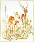 "GOK938 Thea Gouverneur Kit Deer With Fawn 14"" x 18""; Linen; 30ct"