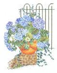 """GOK2035  Thea Gouverneur Kit Blue Hydrangea Flowers 18"""" x 24""""; Linen; 30ct"""