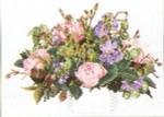 """GOK1080 Thea Gouverneur Kit Roses Bouquet 26"""" x 16""""; Linen; 30ct"""