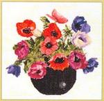 """GOK1064 Thea Gouverneur Kit Bowl Of Anemones 10"""" x 10""""; Linen; 30ct"""