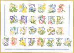 """GOK2089 Thea Gouverneur Kit Flower Alphabet 17"""" x 13""""; Linen; 36ct"""