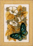 "PNV144802 Vervaco Kit Butterfly on Flowers II 3"" x 5""; Aida; 18ct"