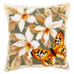 "PNV148254 Vervaco Kit Orange Butterfly Pillow 16"" x 16""; Canvas"
