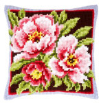 """PNV144348 Vervaco Kit Pink Flowers Pillow 16"""" x 16""""; Canvas"""
