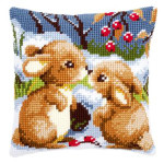 "PNV21832 Vervaco Kit Snow Rabbits Pillow 16"" x 16""; Canvas"
