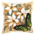 "PNV146841 Vervaco Kit Green Butterfly Pillow 16"" x 16""; Canvas"