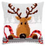 "PNV148051 Vervaco Kit Reindeer with a Red Scarf I Pillow 16"" x 16""; Canvas"