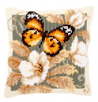 "PNV146840 Vervaco Kit Black & Orange Butterfly Pillow 16"" x 16""; Canvas"