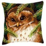 "PNV145273 Vervaco Kit Owl Pillow 16"" x 16""; Canvas"