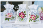 """PNV146543 Vervaco Kit Pink Flowers I Design on Right only 3.2"""" x 4.8""""; Aida; 18ct"""