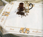"PNV21725 Vervaco Kit Tea and Coffee Tablecloth 32"" x 32""; Cotton; 10ct"
