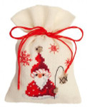 "PNV144300 Vervaco Kit Santa with a Lantern 3"" x 5""; Aida; 18ct"