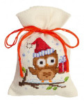 "PNV147603 Vervaco Kit Owlet with a Present 3"" x 5""; Aida; 18ct"