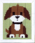"PNV147444 Vervaco Long Stitch Kit Brown Doggy 5"" x 6""; Canvas"