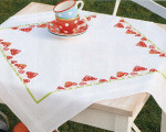 "PNV13284 Vervaco Kit Toadstools Tablecloth 32"" x 32""; Cotton"