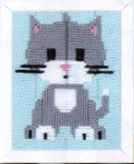 "PNV147443 Vervaco Kit Grey Kitty 5"" x 6""; Canvas"