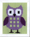 "PNV147442 Vervaco Kit Purple Owl 5"" x 6""; Canvas"