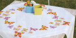 "PNV146525 Vervaco Kit Butterflies Flapping Tablecloth 32"" x 32""; Cotton"