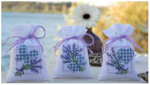 "PNV143682 Vervaco Kit Lavender Bow Sachet (center) design only 3.2"" x 4.8""; Aida; 18ct"