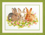 "PNV143866 Vervaco Kit Flower Bunnies 10.8"" x 7.2""; Aida; 14ct"
