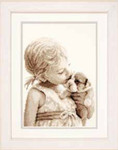 "PNV146949 Vervaco Kit Girl with Puppy 8.8"" x 10.4""; Aida; 14ct"