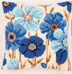 """PNV145051 Vervaco Kit Blue Daisies Cushion 16"""" x 16"""" Canvas"""