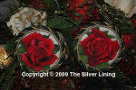 Silver Lining Red Rose Ornaments #5 Stitch Count 90 x 90