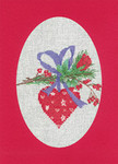 "HCK1160R Heritage Crafts Kit Heart Red  Christmas Cards by Sue Hill Set of 3 cards and envelopes 6"" x 8""; Aida; 14ct"