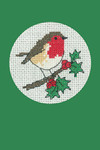 "HCK1154 Heritage Crafts Kit Robin Green  Christmas Cards by Michaela Learner & Susan Ryder 3 cards and envelopes 4"" x 6""; Aida; 14ct"
