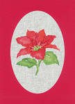 "HCK1164R Heritage Crafts Kit Poinsettia Red  Christmas Cards by Sue Hill Set of 3 cards and envelopes 6"" x 8""; Aida; 14ct"