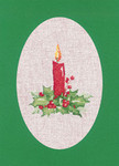 "HCK1165 Heritage Crafts Kit Candle - Green Christmas Cards by Sue Hill Set of 3 cards and envelopes 6"" x 8""; Aida; 14ct"