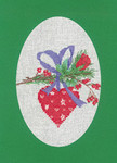 "HCK1160 Heritage Crafts Kit Heart Green Christmas Cards by Sue Hill Set of 3 cards and envelopes 6"" x 8""; Aida; 14ct"