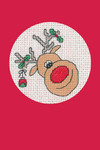 "HCK1155R Heritage Crafts Kit Reindeer - Red Christmas Cards by Michaela Learner & Susan Ryder 3 cards and envelopes 4"" x 6""; Aida; 14ct"