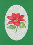 "HCK1164 Heritage Crafts Kit Poinsettia Green Christmas Cards by Sue Hill Set of 3 cards and envelopes 6"" x 8""; Aida; 14ct"