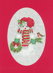 "HCK1162R Heritage Crafts Kit Snowman Red  Christmas Cards by Sue Hill Set of 3 cards and envelopes 6"" x 8""; Aida; 14ct"