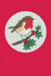 "HCK1154R Heritage Crafts Kit Robin Red Christmas Cards by Michaela Learner & Susan Ryder 3 cards and envelopes 4"" x 6""; Aida; 14ct"