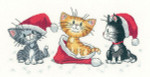 "HCK1156 Heritage Crafts Kit Christmas Kittens  Cats Rule by Peter Underhill 10"" x 5"" Evenweave; 27ct"