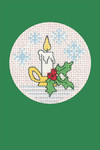 "HCK1152 Heritage Crafts Kit Candle Green  Christmas Cards by Michaela Learner & Susan Ryder 3 cards and envelopes 4"" x 6""; Aida; 14ct"