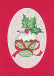 "HCK1161R Heritage Crafts Kit Cupcake Red Christmas Cards by Sue Hill Set of 3 cards and envelopes 6"" x 8""; Aida; 14ct"