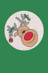 "HCK1155 Heritage Crafts Kit Reindeer - Green  Christmas Cards by Michaela Learner & Susan Ryder 3 cards and envelopes 4"" x 6""; Aida; 14ct"
