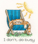 """HCK1140A Heritage Crafts Kit  I Don't Do Busy Cats Rules by Peter Underhill 3.5"""" x 4.75"""" Aida; 14ct"""
