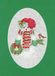 "HCK1162 Heritage Crafts Kit Snowman Green Christmas Cards by Sue Hill Set of 3 cards and envelopes 6"" x 8""; Aida; 14ct"