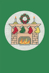 "HCK1150 Heritage Crafts Kit Stockings Green  Christmas Cards by Michaela Learner & Susan Ryder 3 cards and envelopes 4"" x 6""; Aida; 14ct"