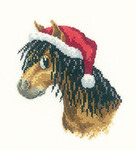 "HCK1166 Heritage Crafts Kit  Christmas Pony  Peters Farm by Peter UnderHill 4.5"" x 5.25"" Evenweave; 27ct"