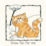 "HCK914 Heritage Crafts Kit Snow Fun For Me Cat by Peter Underhill - Cats-Rule! 5"" x 5.5""  Evenweave 28ct"