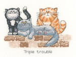 "HCK886 Heritage Crafts Kit Triple Trouble by Peter Underhill - Cats-Rule! 7.5"" x 5"" Evenweave 28ct"