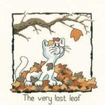 "HCK913 Heritage Crafts Kit The Very Last Leaf by Peter Underhill - Cats-Rule! 5"" x 5.5""  Evenweave 28ct"