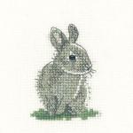 "HCK1077 Heritage Crafts Kit Baby Rabbit 2"" x 3"" Evenweave 27ct"